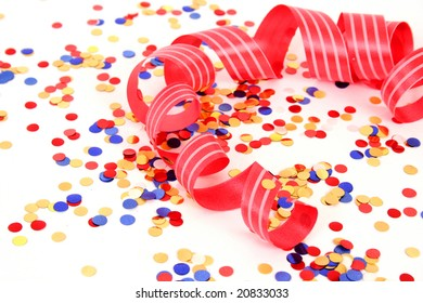 Scarlet tape and confetti
