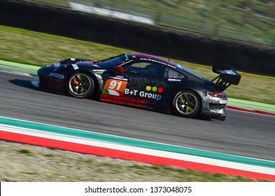 Scarperia, 29 March 2019 Italy: Porsche 911 GT3 R of Herberth Motorsport Germany Team driven by Daniel Allemann/Ralf Bohn/Robert Renauer/Alfred Renauer in action during 12h Hankook in Mugello Circuit
