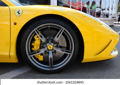 Scarperia (Florence), Italy - March 2018 : Close-up of a wheel of a Ferrari sports car in the Mugello Paddock. Ferrari S.P.A. is an Italian luxury sports car manufacturer, founded by Enzo Ferrari.