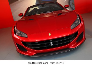 Scarperia (Florence), Italy - March 2018 : Ferrari cars on display in the Mugello paddock. Ferrari S.P.A. is an Italian luxury sports car manufacturer, founded by Enzo Ferrari.