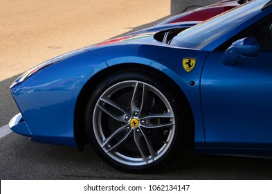 Scarperia (Florence), Italy - March 2018 : Ferrari sports cars in the paddock of Mugello Circuit. Ferrari S.P.A. is an Italian luxury sports car manufacturer, founded by Enzo Ferrari.
