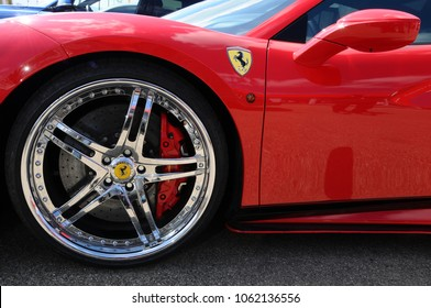 Scarperia (Florence), Italy - March 2018 : Detail of a Ferrari sports car in the Mugello Paddock. Ferrari S.P.A. is an Italian luxury sports car manufacturer, founded by Enzo Ferrari.
