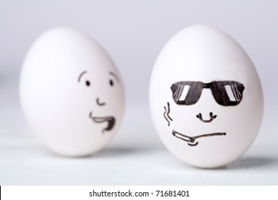 Scarry egg looking at smoking egg