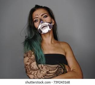 Scarry halloween skull make up girl studio