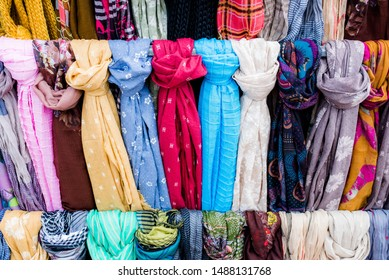 scarves exhibition in a small shop