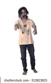Scary asian male zombie isolated over white background