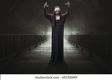 Scary asian woman devil nun on the dark forest