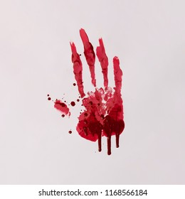 Scary bloody hand print. Halloween horror concept.