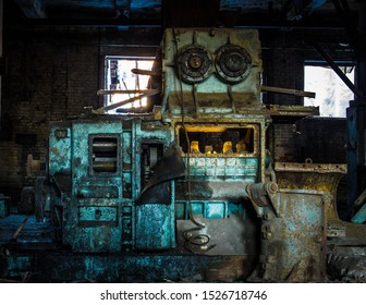 scary car in an abandoned factory