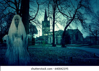 Scary Church Graveyard With Ghost