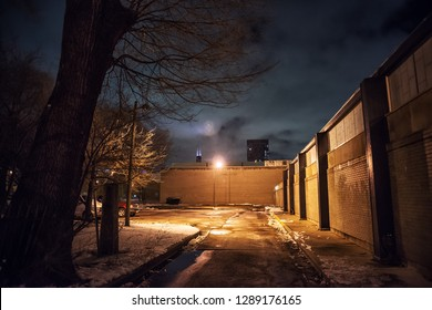 Scary city alley street with a dramatic tree and the Chicago skyline in the winter at night