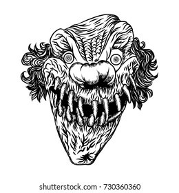 Scary clown head concept of circus horror film character. Laughing angry insane joker head, front face of horror and crazy maniac. Evil smiling character. Blackwork adult flesh tattoo concept.