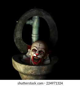 Scary Clown Popping Up - A scary clown popping up out of a dirty toilet.  Isolated on a black background.