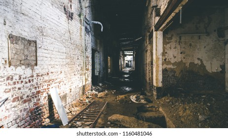 Scary Creepy Dark Room Hallway Abandoned Chemical Factory Waste Construction