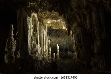 Scary dark cave with Stalagmites and Stalactites