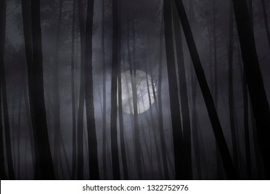 Scary dark foggy forest in a full moon night.