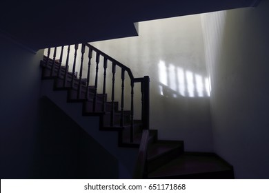 Scary dark stairs to the loft