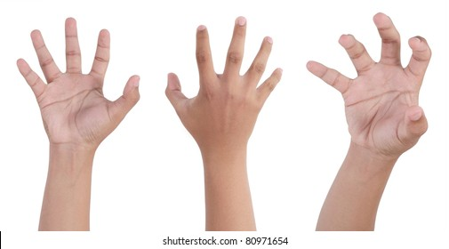 scary desperate hand isolated on white background