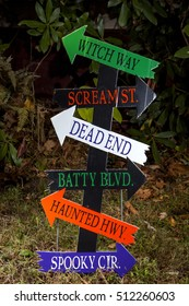 A scary directional sign for Halloween