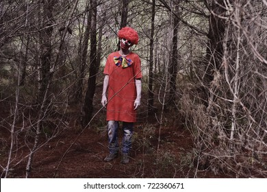 a scary evil clown wearing a red wig and a dirty costume, in the woods