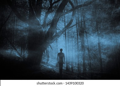 scary ghost in dark fantasy forest at night