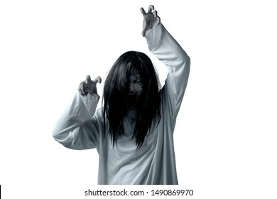 Scary ghost woman with blood and angry face with clawing hands isolated over white background. Halloween concept