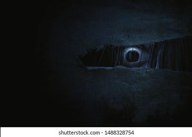 Scary ghost woman eye peeking