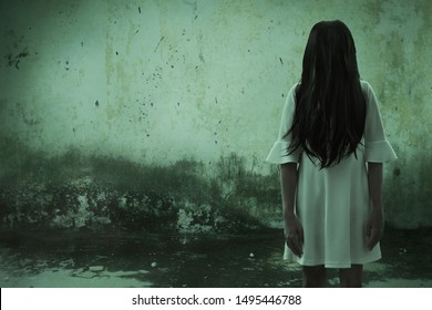 Scary ghost woman in haunted house