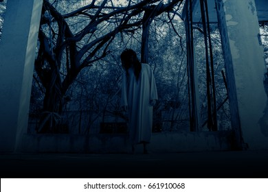 Scary ghost woman in Haunted House, Horror background