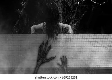 Scary ghost woman in Haunted House,Horror background for book cover including 3d rendering object