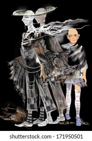 scary ghosts, one twin ghost, one child ghost, gray realistic shapes over a black background, raster illustration