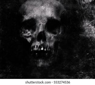 Scary Grunge Skull Wallpaper Halloween Background
