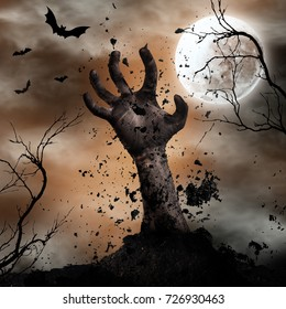 Scary Halloween background with zombie hand, bats and full moon. Horror theme.