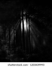 Scary halloween dark forest wallpaper, horror spooky background