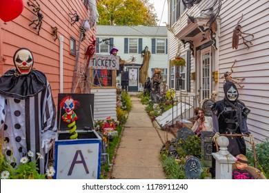 Scary Halloween house decorations October 27, 2015. Salem Massachusetts United States