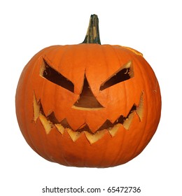 Scary halloween pumpkin jack-o-lantern unlit, isolated on white background