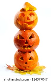 Scary halloween pumpkins Jack O Lanterns isolated on white background