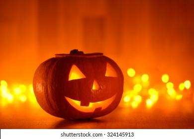 Scary halloween pumpkins jack-o-lantern with blur background