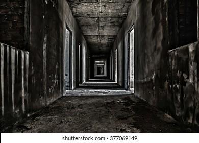 scary hallway walkway in abandoned building