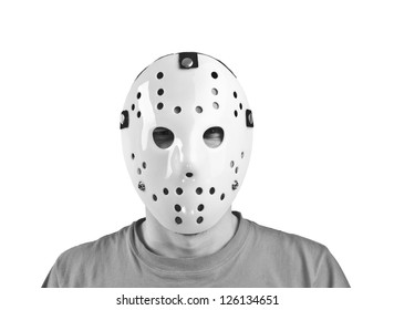 Scary hockey white mask  on young man isolated on white
