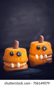 scary homemade pumpkin cup cakeshalloween decoration