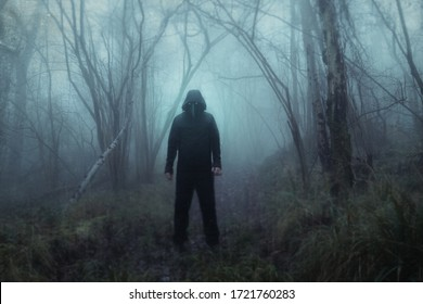 A scary hooded figure wearing a Halloween plague doctors mask. In a foggy winters forest. With a textured, grunge, blurred edit