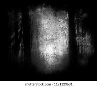 Scary horror dark forest, spooky halloween wallpaper