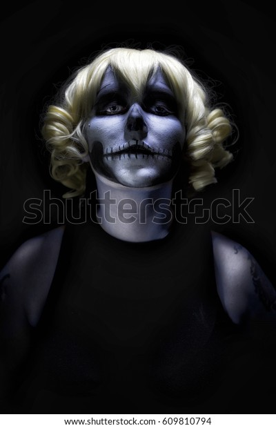 Scary Horror Face Painted Clown Female Stock Photo (Edit Now