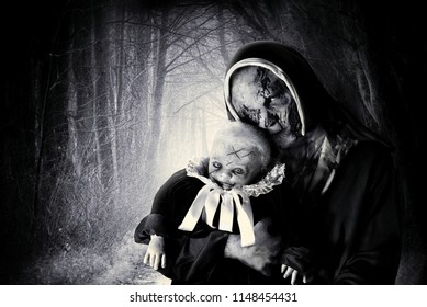 scary  horror nun and devil baby