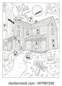 Scary house halloween coloring page