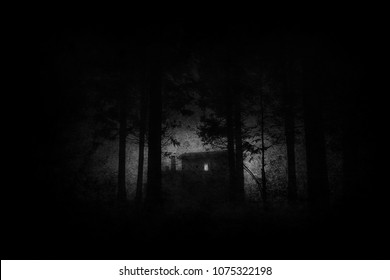 scary house in mysterious horror forest at night in black and white with grungy textures