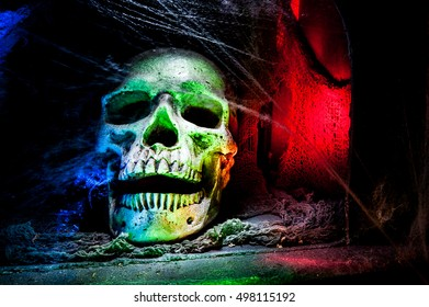 Scary Human Skull at night - Abstract Light Painting at night - Light Art Photography