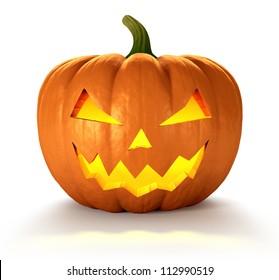 Scary Jack O Lantern halloween pumpkin with candle light inside, 3d render