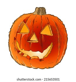 Scary Jack O Lantern halloween pumpkin with candle light inside isolated on a white background. Line art. Retro design. Raster copy
